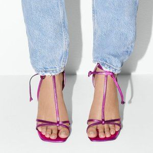 Zara Blue Collection Tied Leather High Heels